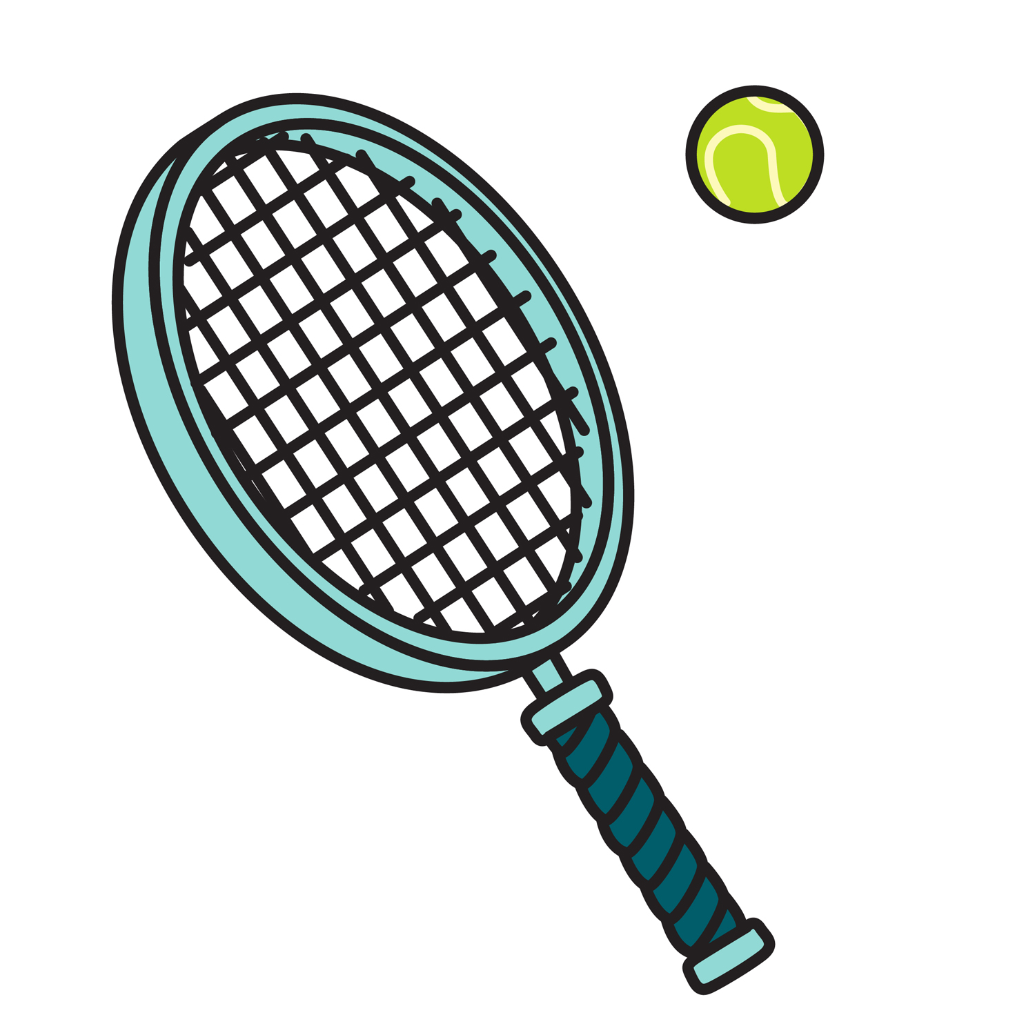 Racket With A Green Tennis Ball  Perfect For Your Tennis Clipart Needs