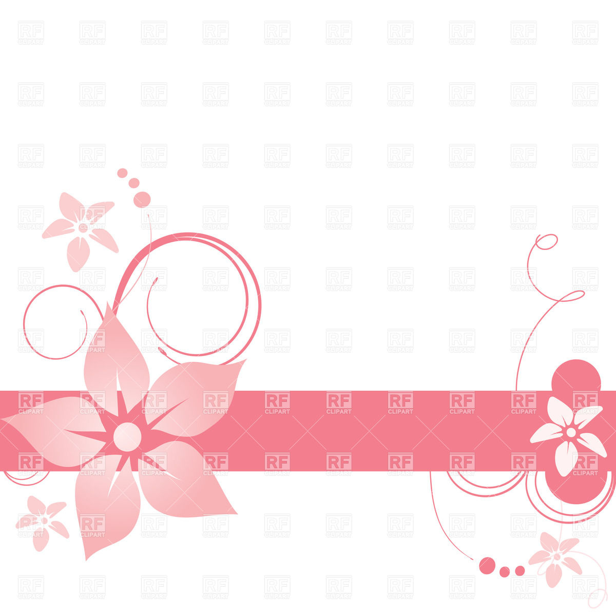 Simple Floral Banner With Curls 23198 Borders And Frames Download