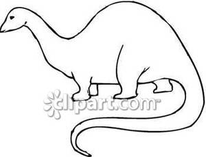 Simple Outline Of A Brachiosaurus   Royalty Free Clipart Picture