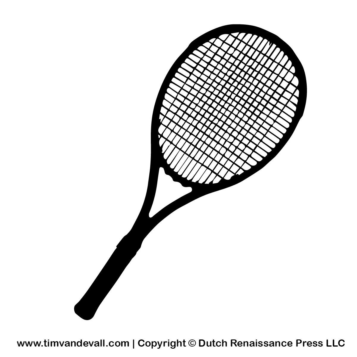 Tennis Racket Silhouette Stencil And Outline Clipart
