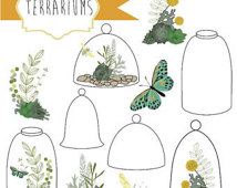 Terrarium Jar Clipart Succulents Greenery Cloche Jar Digital Clip