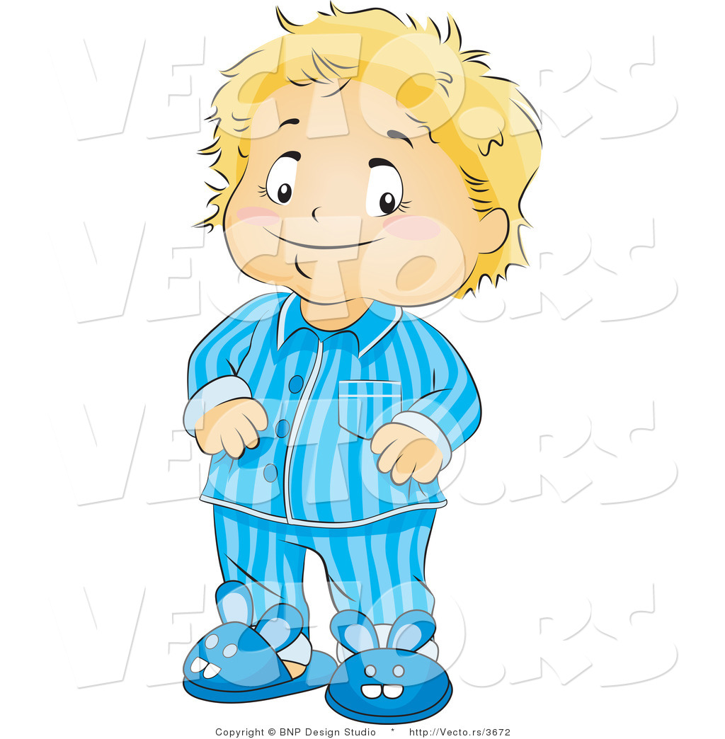 Vector Of Happy Boy Wearing Pajamas And Bunny Slippers By Bnp Design