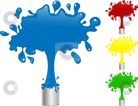 Blue Red Yellow And Green Paint Splash Buckets  Stock Vector Clipart