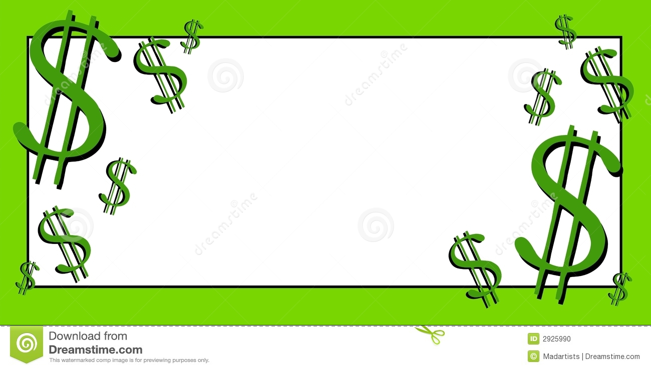 Clip Art Illustration Of A Banner Featuring Dollar Signs In Green