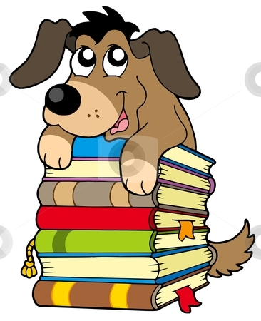 Cute Dog On Pile Of Books Stock Vector Clipart Cute Dog On Pile Of