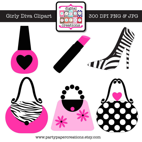 Diva Clipart   Graphic Design   Hot Pink Zebra Print Makeup Purse