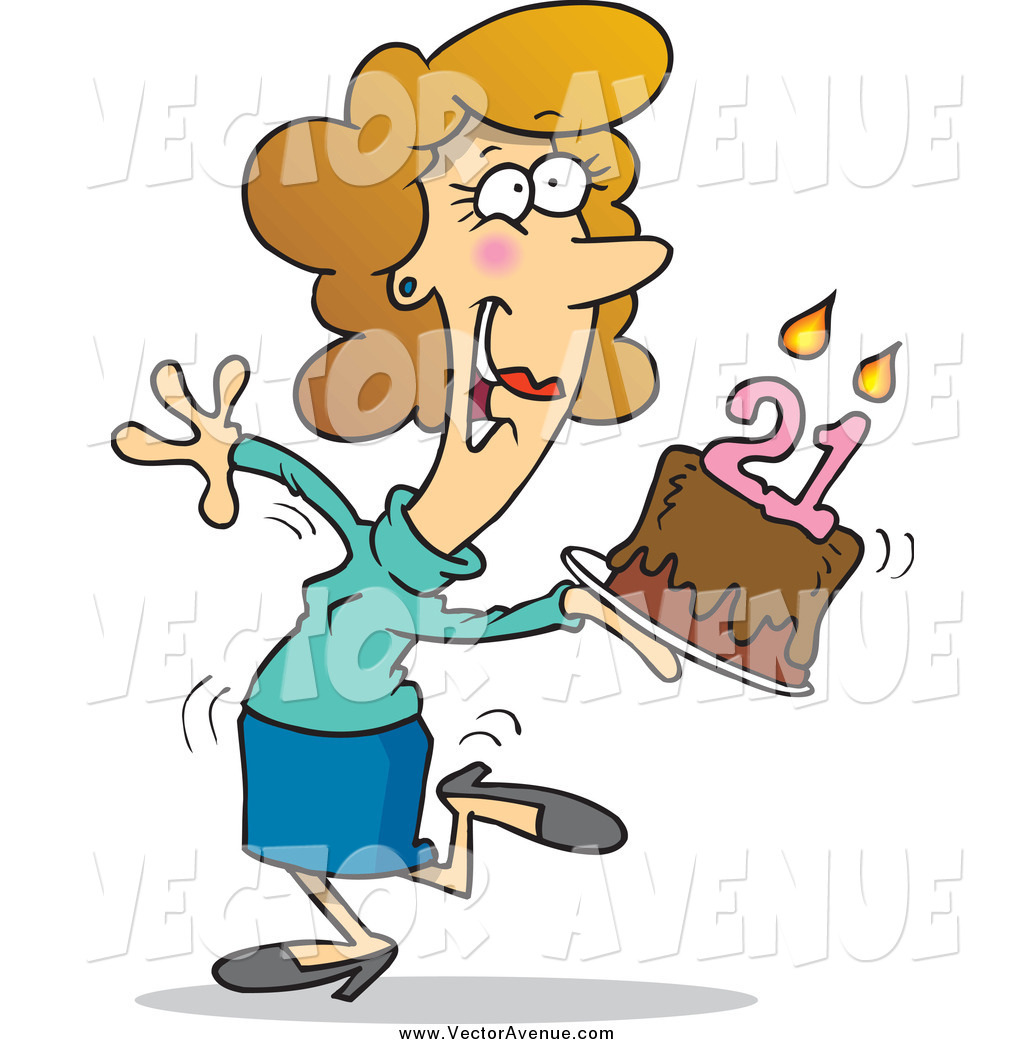 Happy Lady Carrying A Birthday Cake With 21 Candles By Ron Leishman