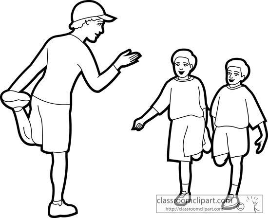 School   Physical Education Teacher Outline 01   Classroom Clipart