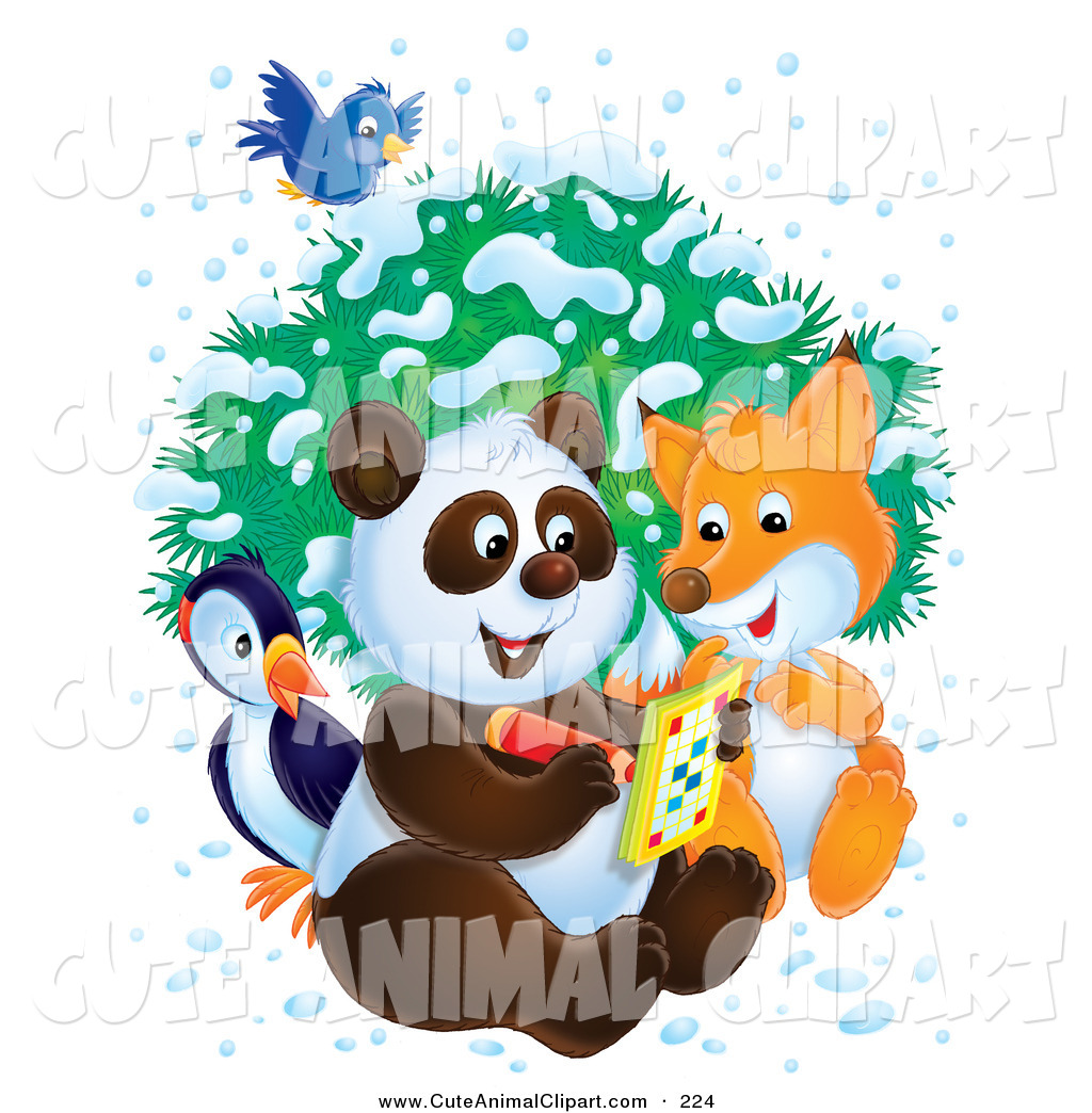 Bird Fox And Panda As They Write In An Activity Book On A Wintry Day