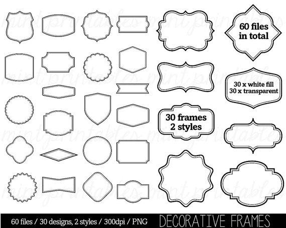 Labels Commercial /& Personal Frames Vintage Hand Drawn Clipart Border Vintage Digital Label Frames Clip Art Instant Download Tags