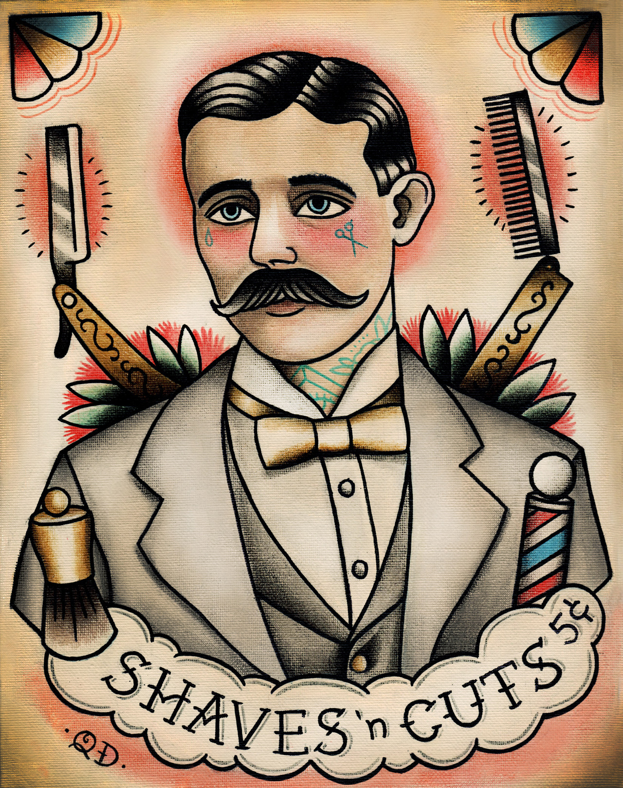 By Quyen Dinh   New Barber Print On Etsy  Parlor Tattoo Prints