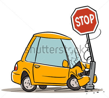 Car Crash In Stop Cartoon Illustration Isolated On White Stock Vector