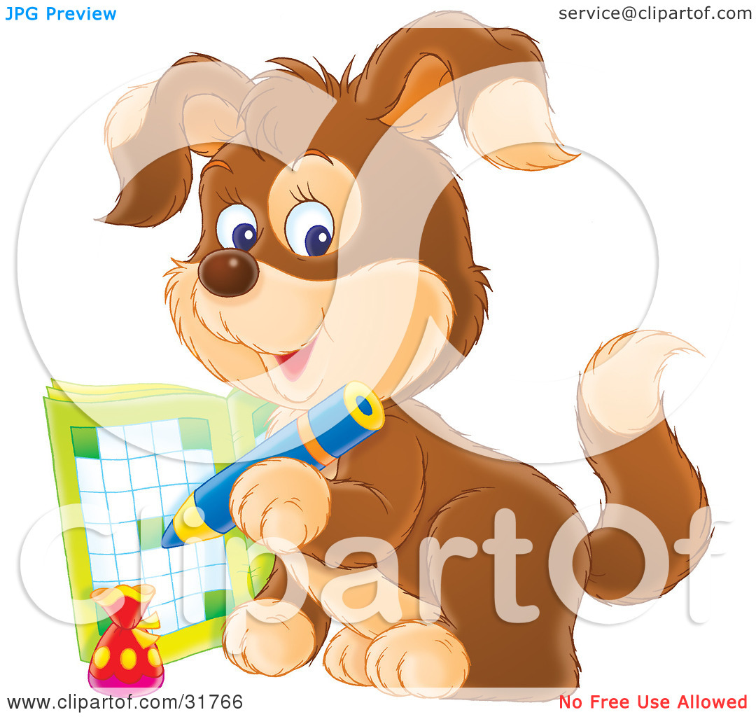 Clipart Illustration Of A Brown Puppy Dog Writing In An Activity Book
