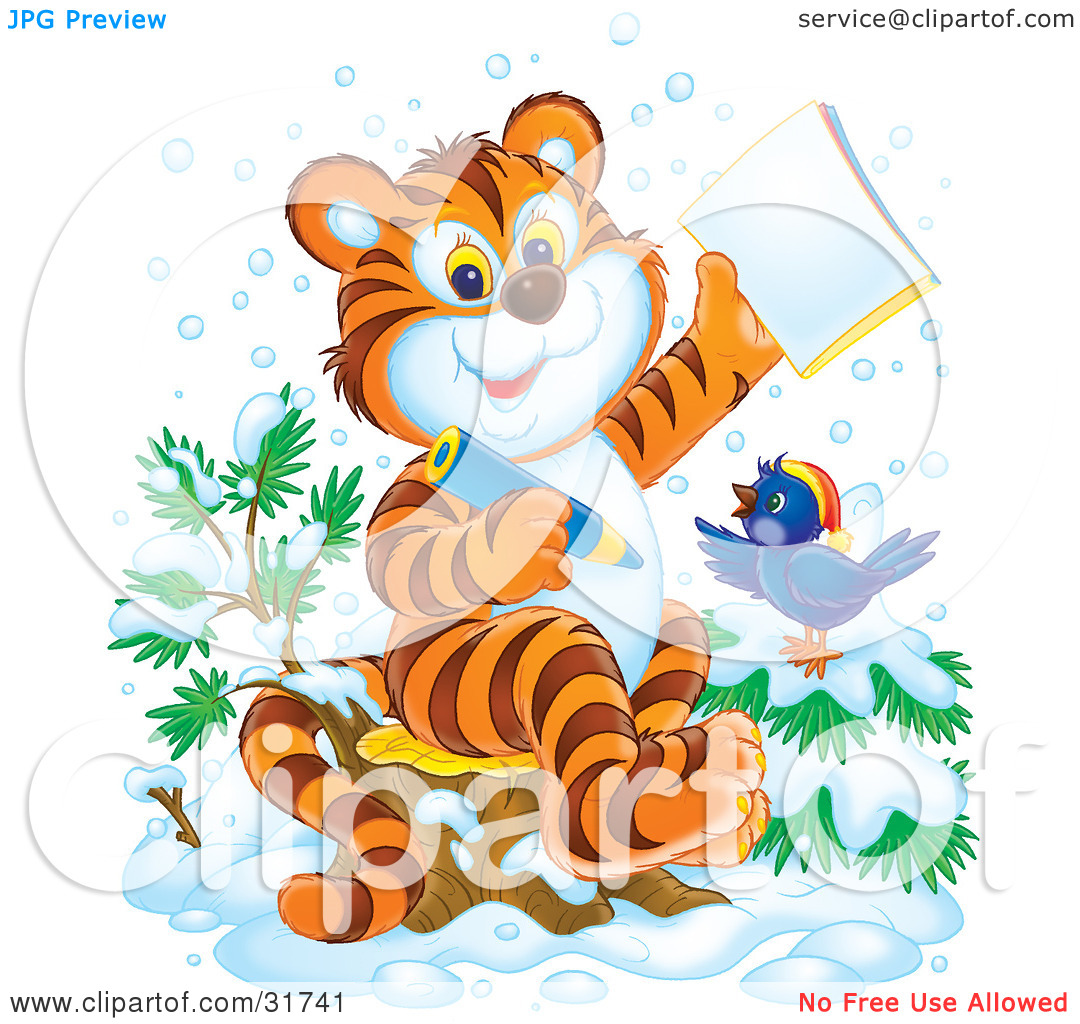 Cub And Bird In The Snow Coloring In An Activity Book By Alex Bannykh