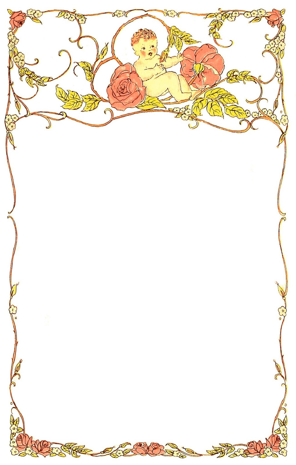 Digital Frame  Baby And Roses       Clipart Best   Clipart Best