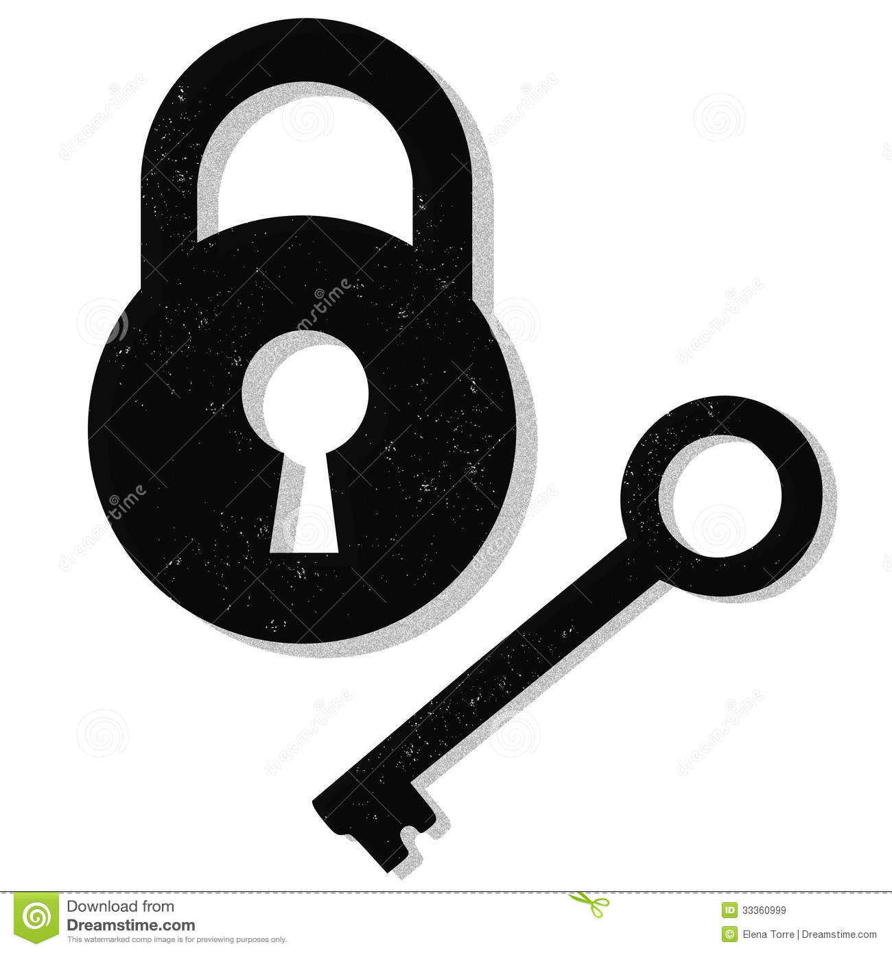 Illustration Of A Lock And Key Isolated On White Background