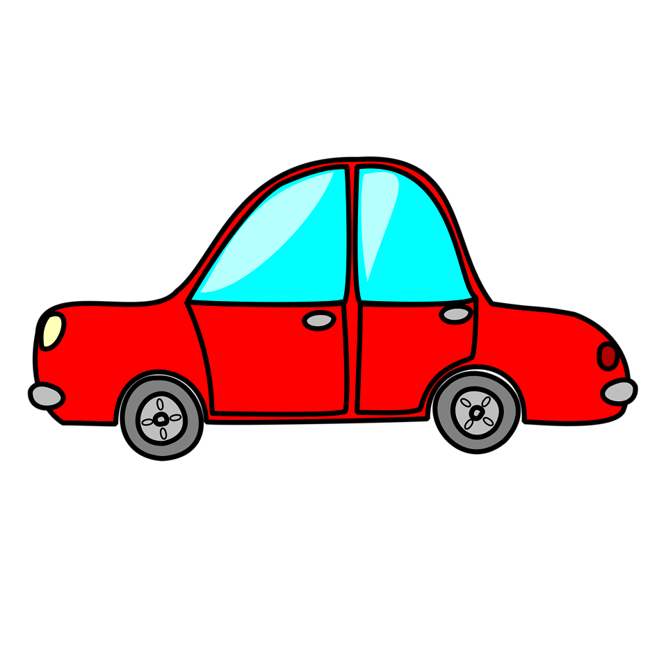 Illustration Of A Red Cartoon Car With A Transparent Background