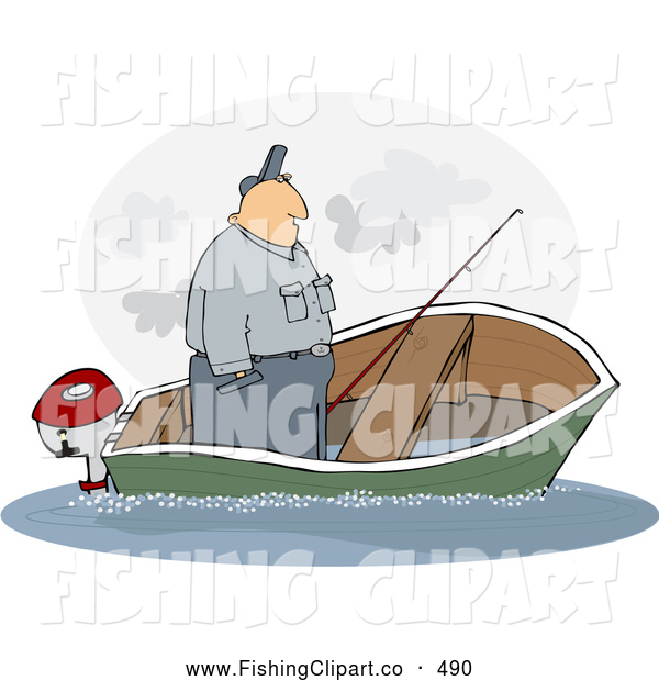 Man In Fishing Boat Clip Art