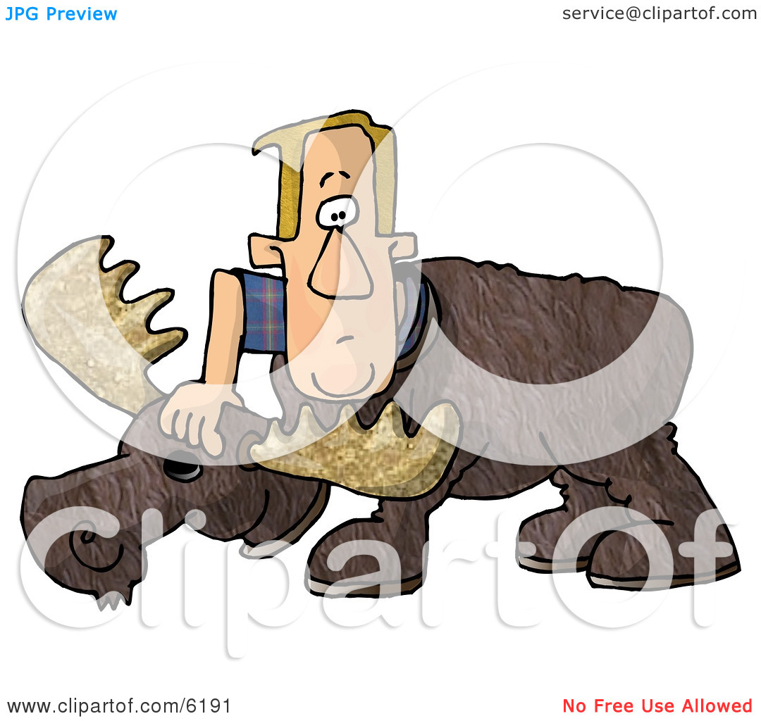 Man Putting On A Realistic Halloween Moose Costume Clipart Picture By
