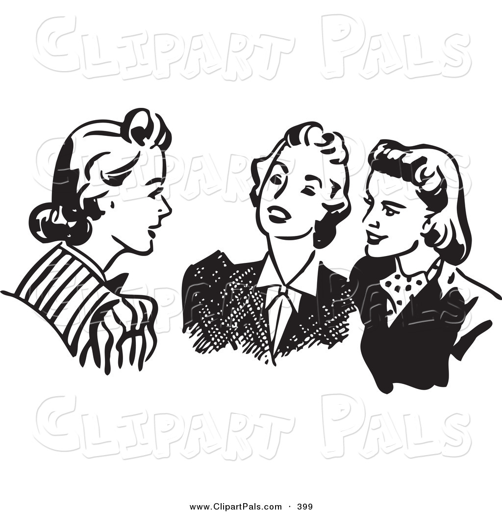 Pal Clipart Of A Retro Black And White Outline Of Women Sitting And