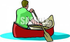 Realistic Man Rowing A Canoe   Royalty Free Clipart Picture