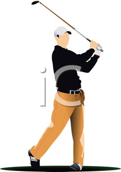 Realistic Style Man Playing Golf   Royalty Free Clip Art Image