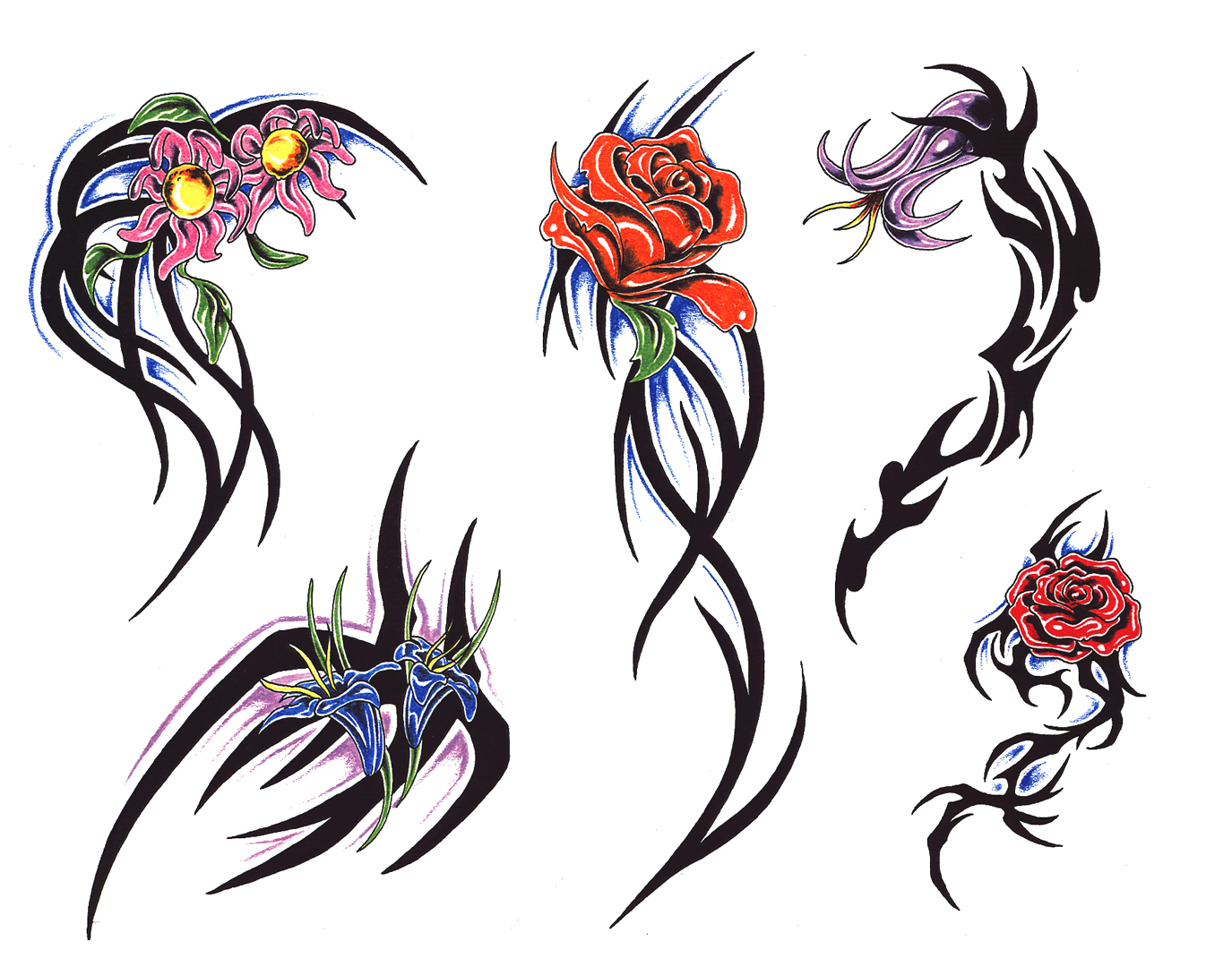 Rose Tattoos Art Tattooing Flash Tribal Clipart