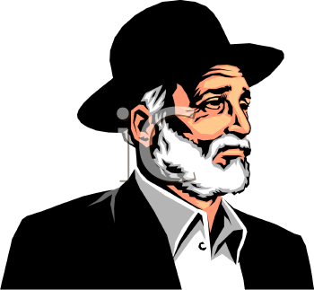 Royalty Free Clip Art Image  Realistic Rabbi Wearing A Hat