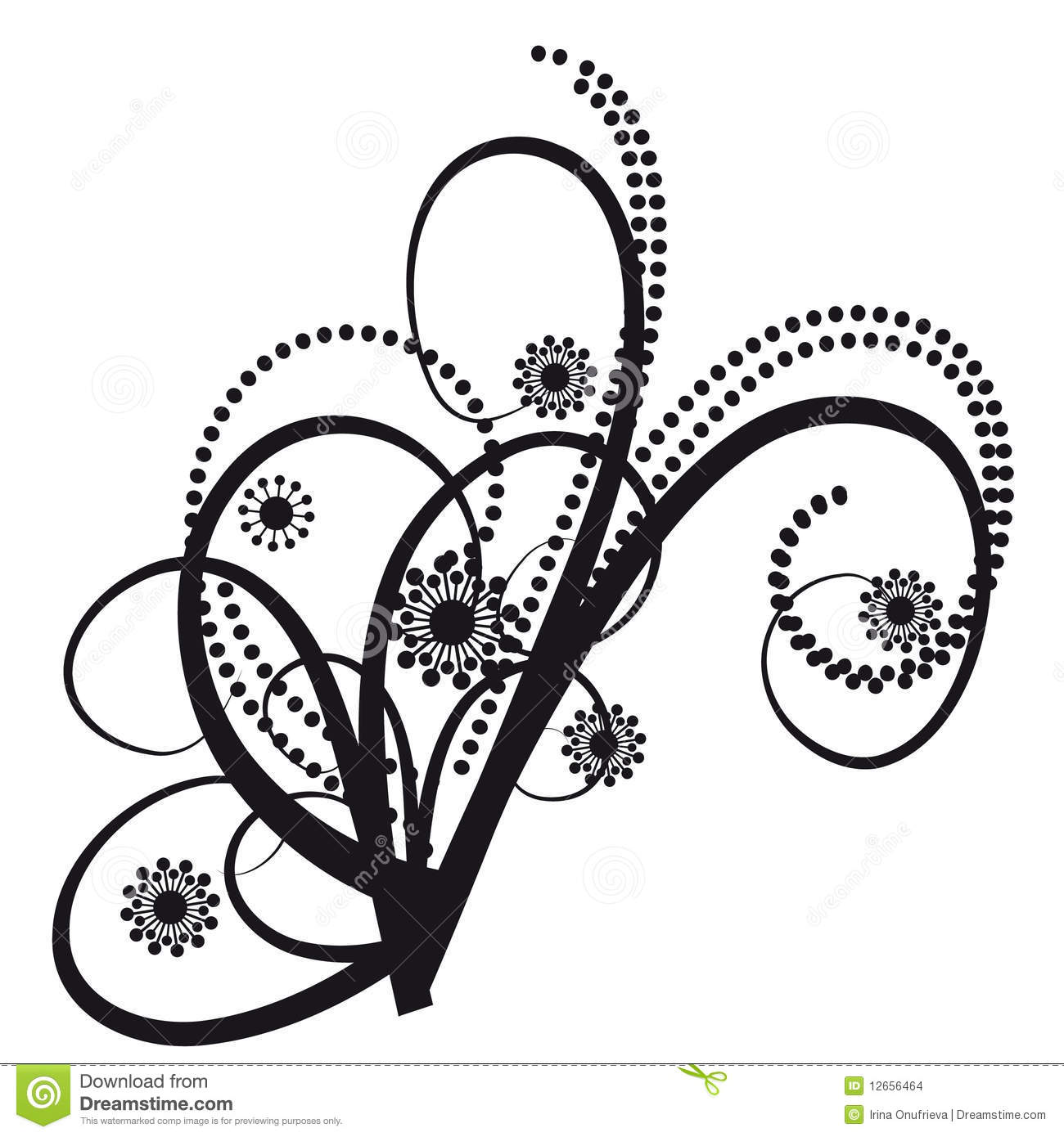 Tattoos In The Form Of An Abstract Bouquet  Vector Illustration