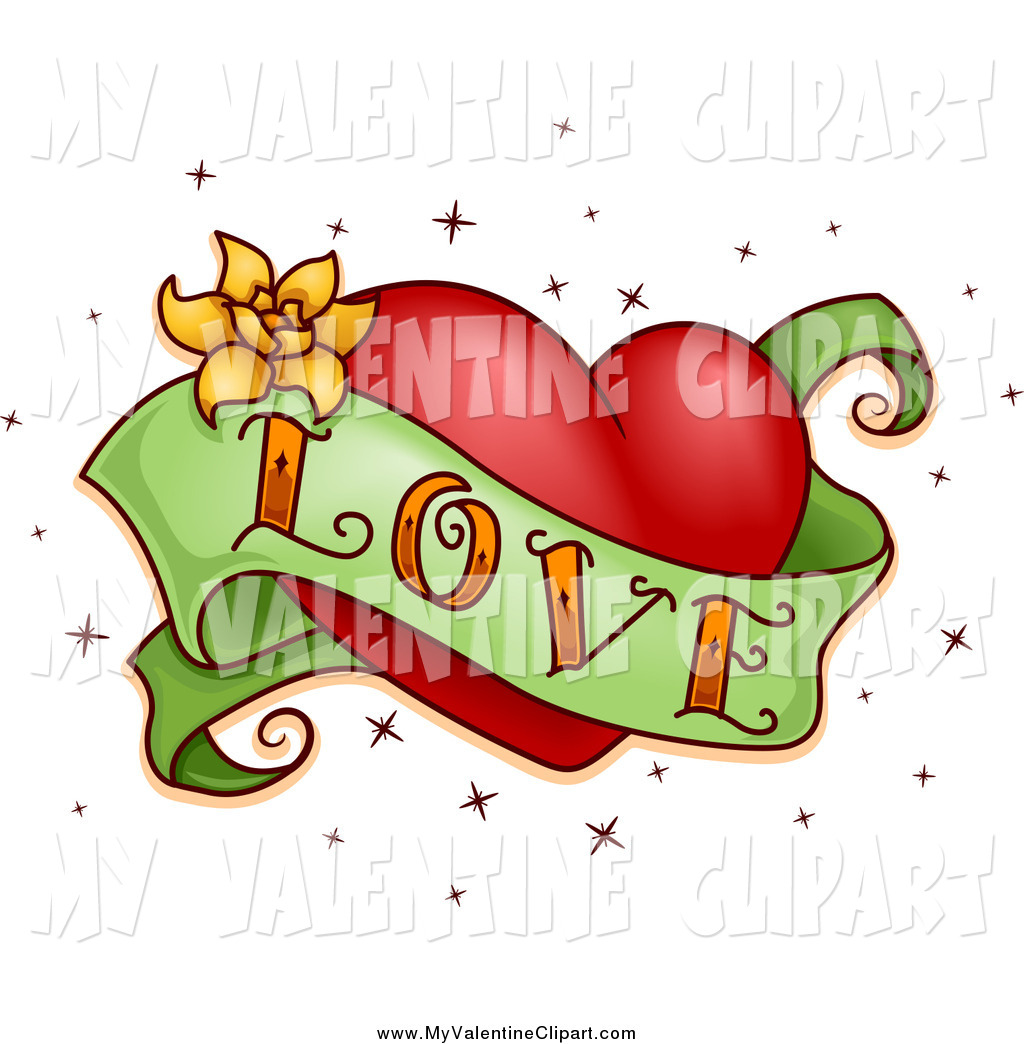 Valentine Clipart Of A Love Banner And Red Heart Tattoo By Bnp Design