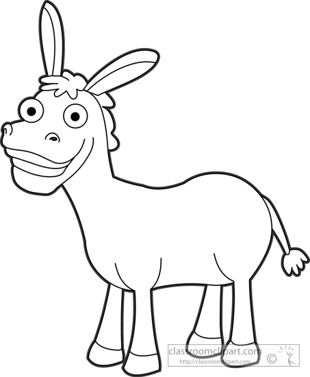 Animals   Cute Smiling Donkey Outline 17   Classroom Clipart