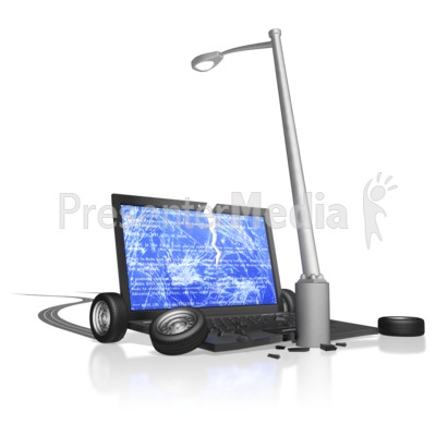 Computer Crash Into Pole   Science And Technology   Great Clipart For