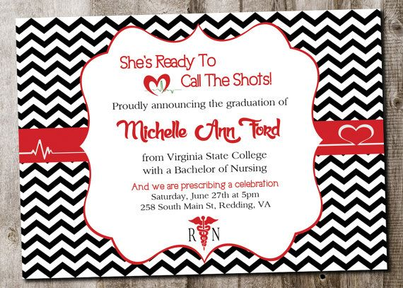 Custom Nursing Graduation Invitation Printable Card Digital File On