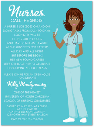 Fun And Fancy Nursing School Graduation Invitations Featuring A Blue