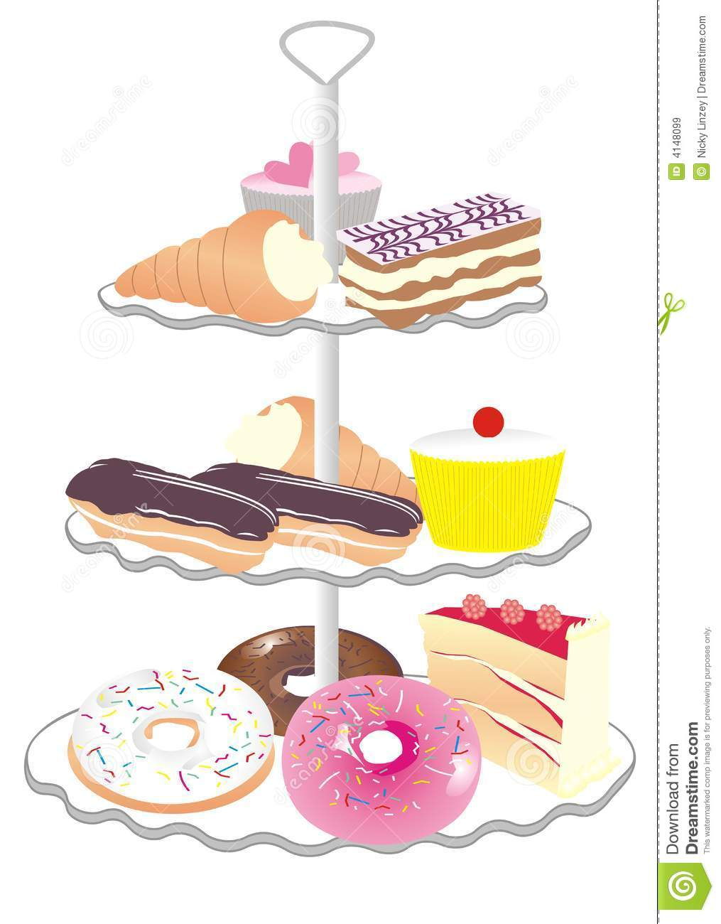 Illustration Of Cream Cakes And Pastries On A Cake Stand