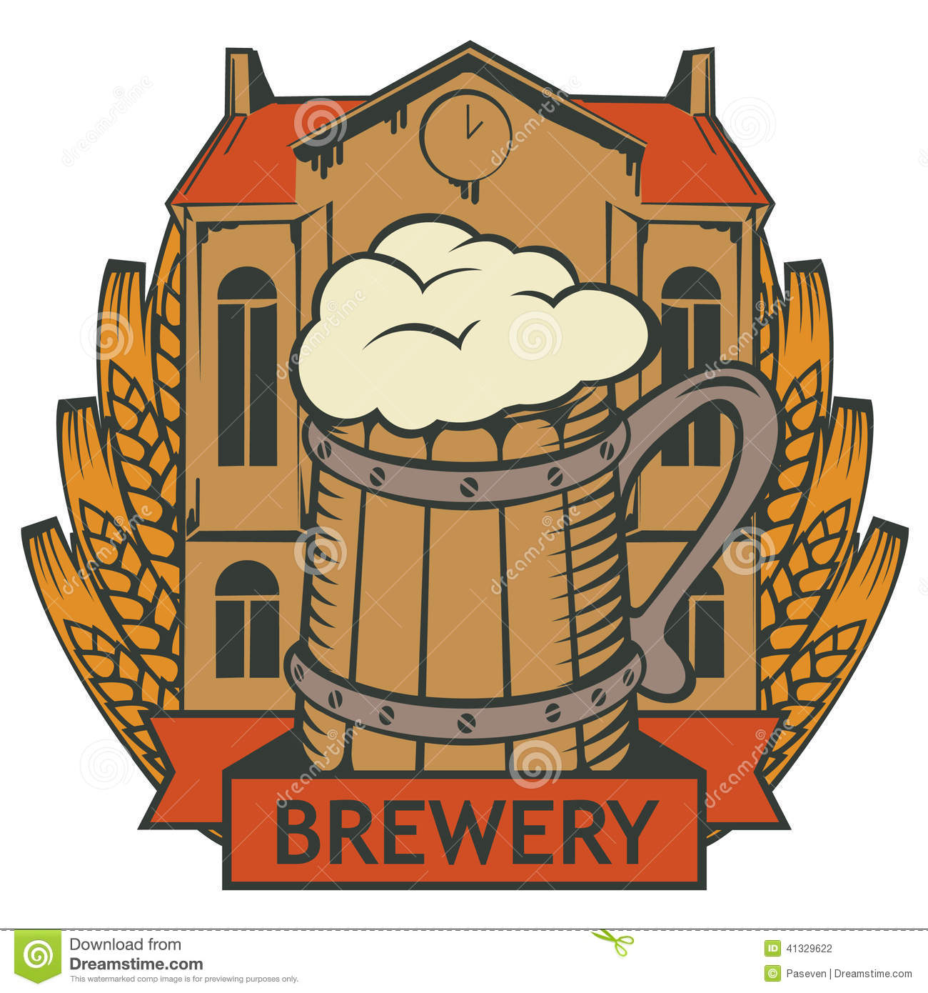 Retro Emblem With Brewery Building A Glass Of Beer And Wheat Wreath