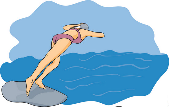 Swimming Clipart   Diving Off Rock 06a   Classroom Clipart