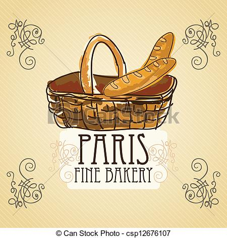 Vector Clipart Of Bakery Icons   French Bread In Basket On Vintage