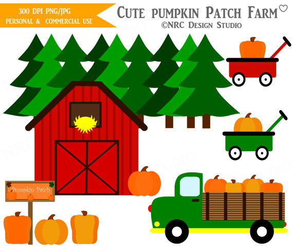 Art   Cute Pumpkin Patch Farm Clip Art   Digital Fall Pumpkin Clipart