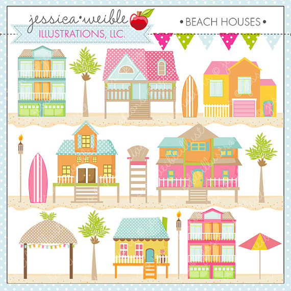 Beach Houses Cute Digital Clipart For Card Design Scrapbooking And