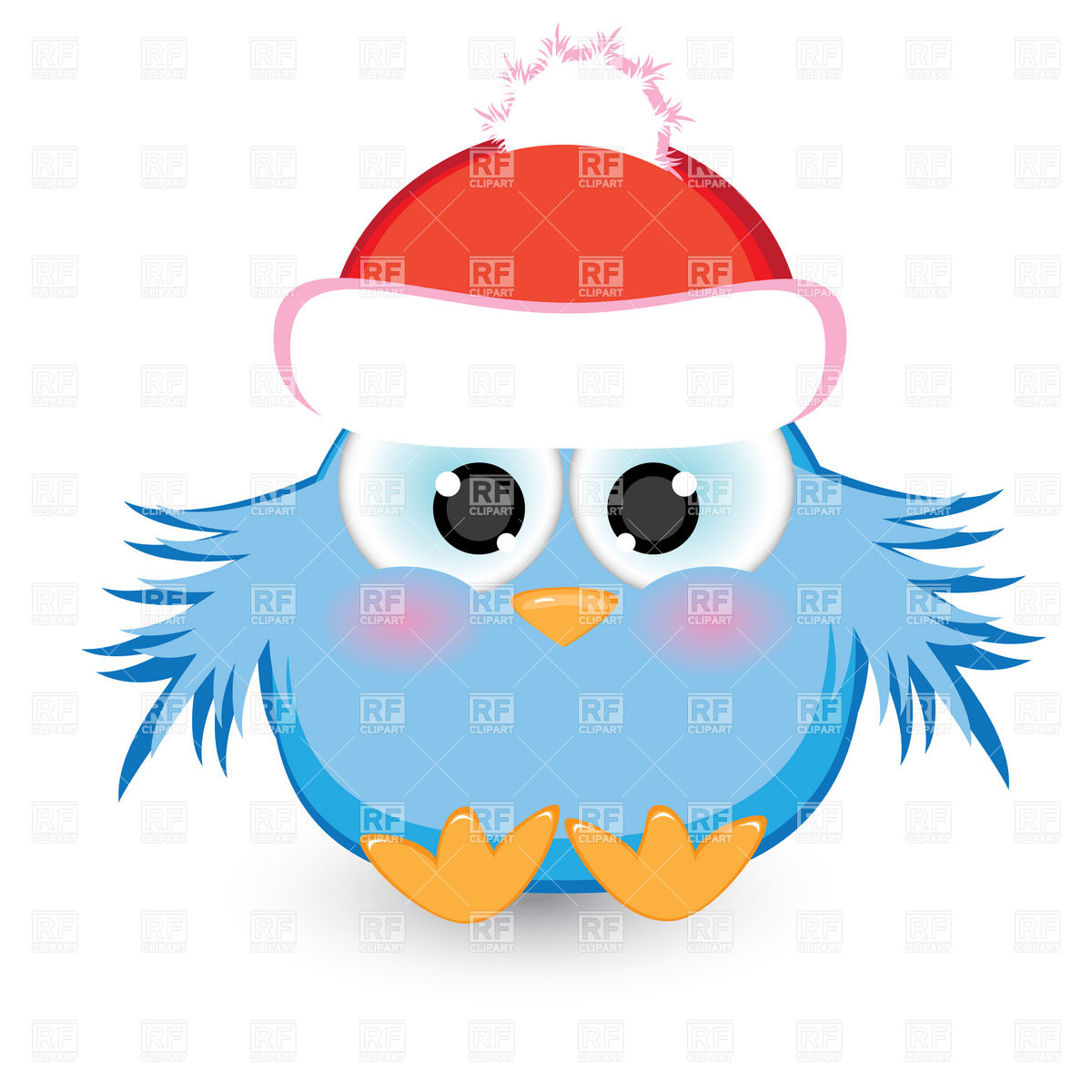 Blue Nestling In Santa S Hat Download Royalty Free Vector Clipart