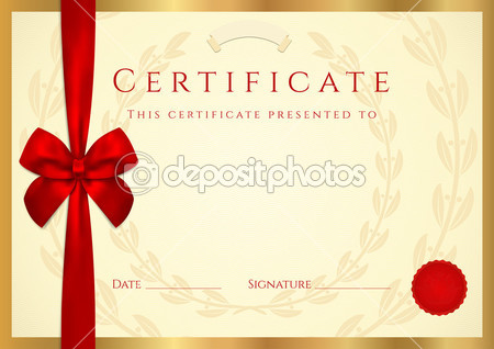 Certificate Of Completion  Template  With Wax Seal Border And Red Bow