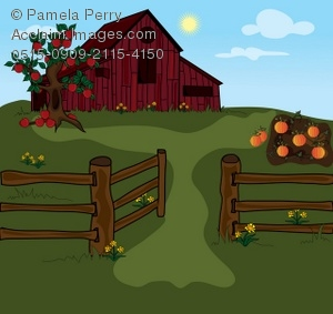 Clip Art Illustration Of A Farm With A Red Barn And A Pumpkin Patch