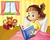 Clip Art Of A Small Girl Reading A Storybook Inside Her Room K15320786