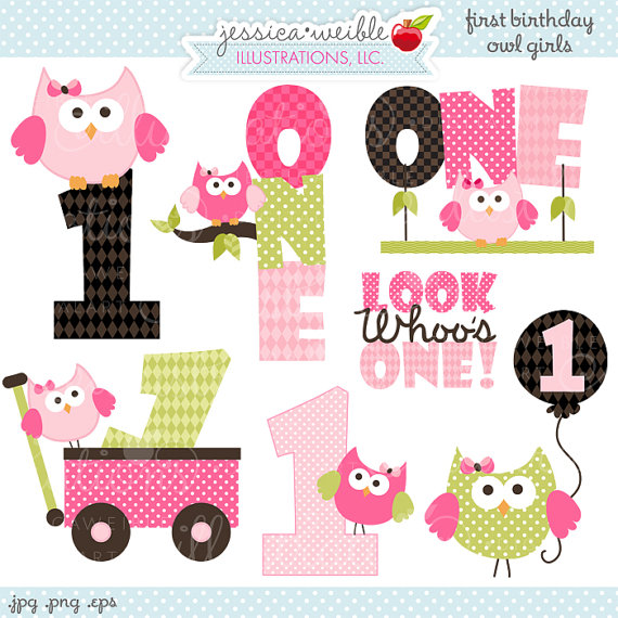 Clipart   Commercial Use Ok   Owl First Birthday Clipart   First Owl