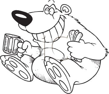 Coloring Page Of A Bear Eating A Hotdog And Drinking A Root Beer