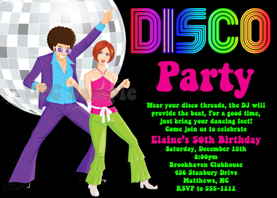 Disco Party Invitation 70s 80s 90s Disco Dance Party Invitations