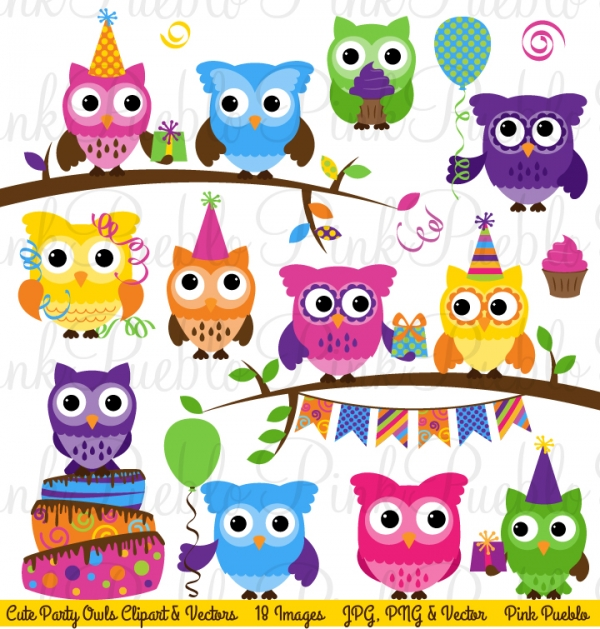 Download Birthday Party Owl Clipart And Vectors