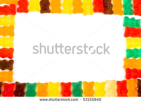 Gummy Bears Frame With White Empty Space In Middle  Stock Photo