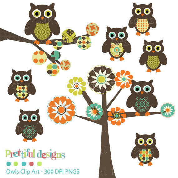 Owl Clip Art Tree Clip Art Digital Scrapbooking Commercial Use Instant